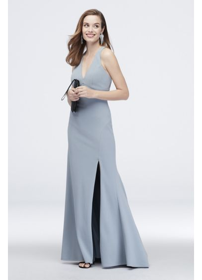 Crepe Plunging V-Neck Tank Sheath Dress with Slit - Get ready to party in this chic sheath